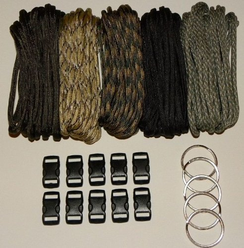 Paracord-550-Kit-Five-Colors-Olive-Drab-ACU-Woodland-Camo-Desert-Camo-Black-100-Feet-Total-w10-38-Black-Side-Release-Buckles-5-32mm-Key-Rings