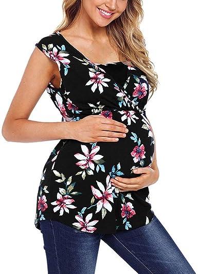 Battnot Damen Umstandsmode Blusen Sommer T Shirt Tank Tops, Frauen Schwangerschaft Mutterschaft Stillen Pflege Baby Oberteile Tunika Blumendruck