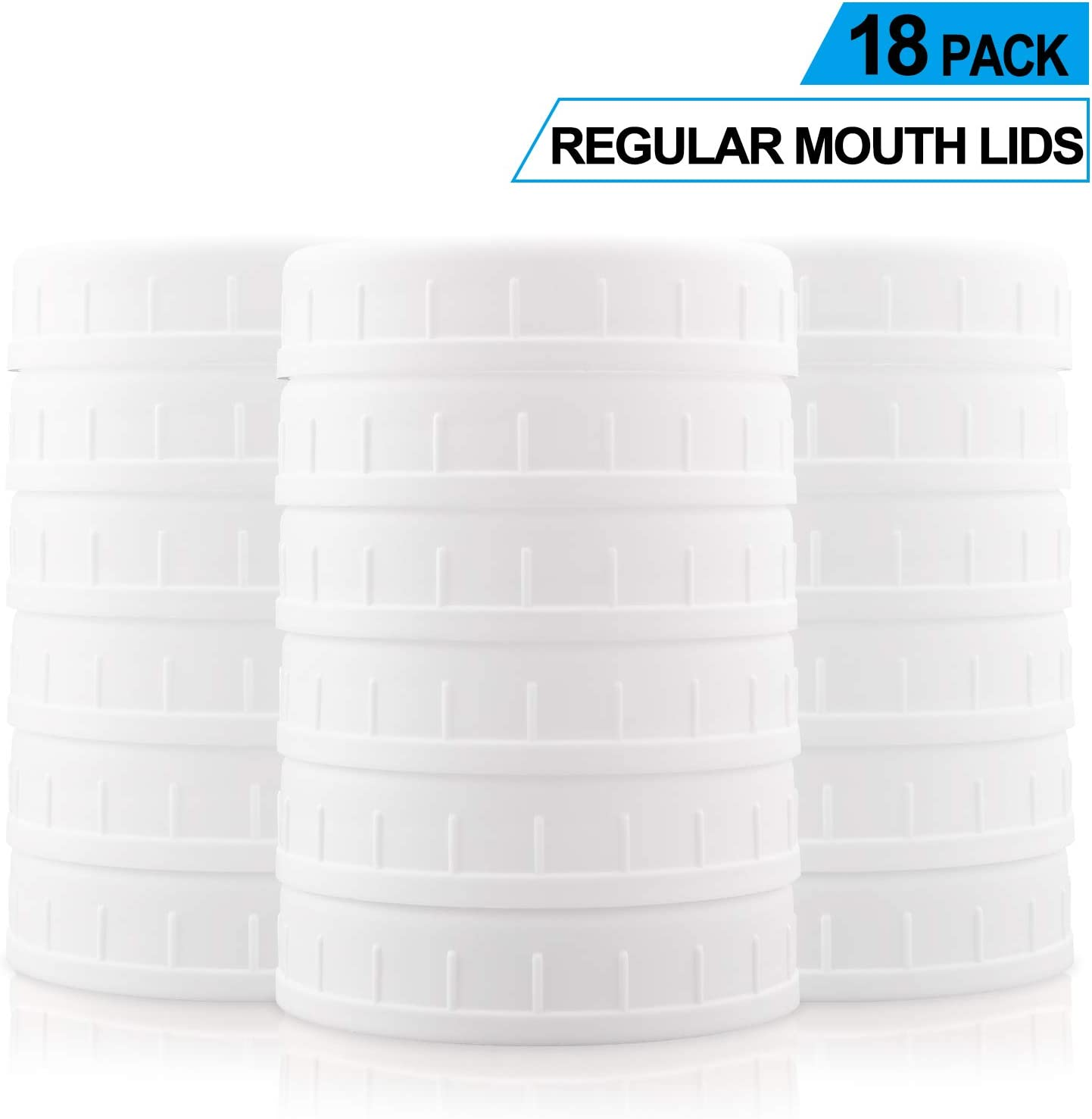 [18 Pack] Plastic REGULAR Mouth Mason Jar Lids for Ball, Kerr and More - Food Grade White Plastic Storage Caps for Mason/Canning Jars - Anti-Scratch Resistant Surface