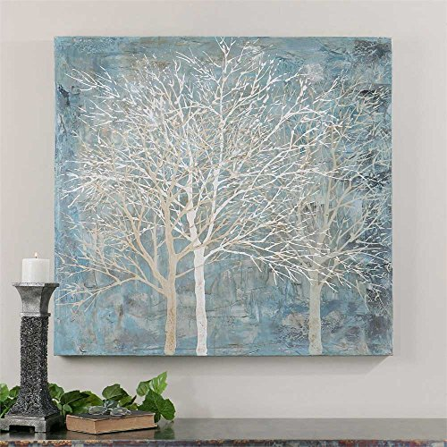 Osm Art Europe Artist Hand Painted Modern Abstract Tree Oil Painting On Canvas Light Blue Landscape Oil Picture for Wall - Art Light Blue