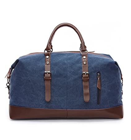 WOMJIA PU Vintage Voyage sac de sport weekender bagage à main de sac de Sac en bandoulière 35L Noir b5JMDek