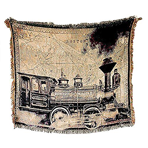 Boston Cotton Tapestry - QEES Double Sided Cotton Woven Couch Boston Train Car Pattern Wall Hanging Decor Bedroom Living Room Dorm Wall Hanging Multi-Functional Cotton Sofa Knit Quilted Throw(GT18)