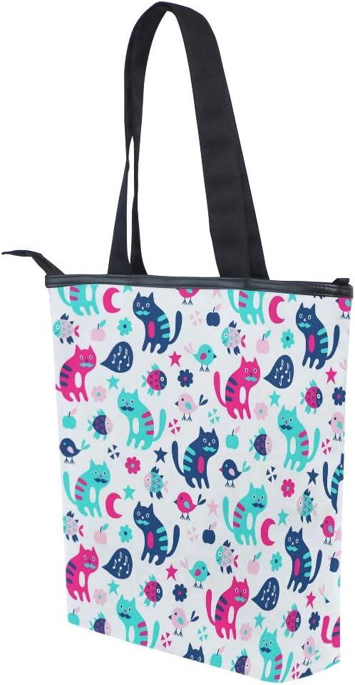 Cat And Bird Seamless Pattern Canvas Tote Bag,Fashion Large Capacity Handbag for Women Travel