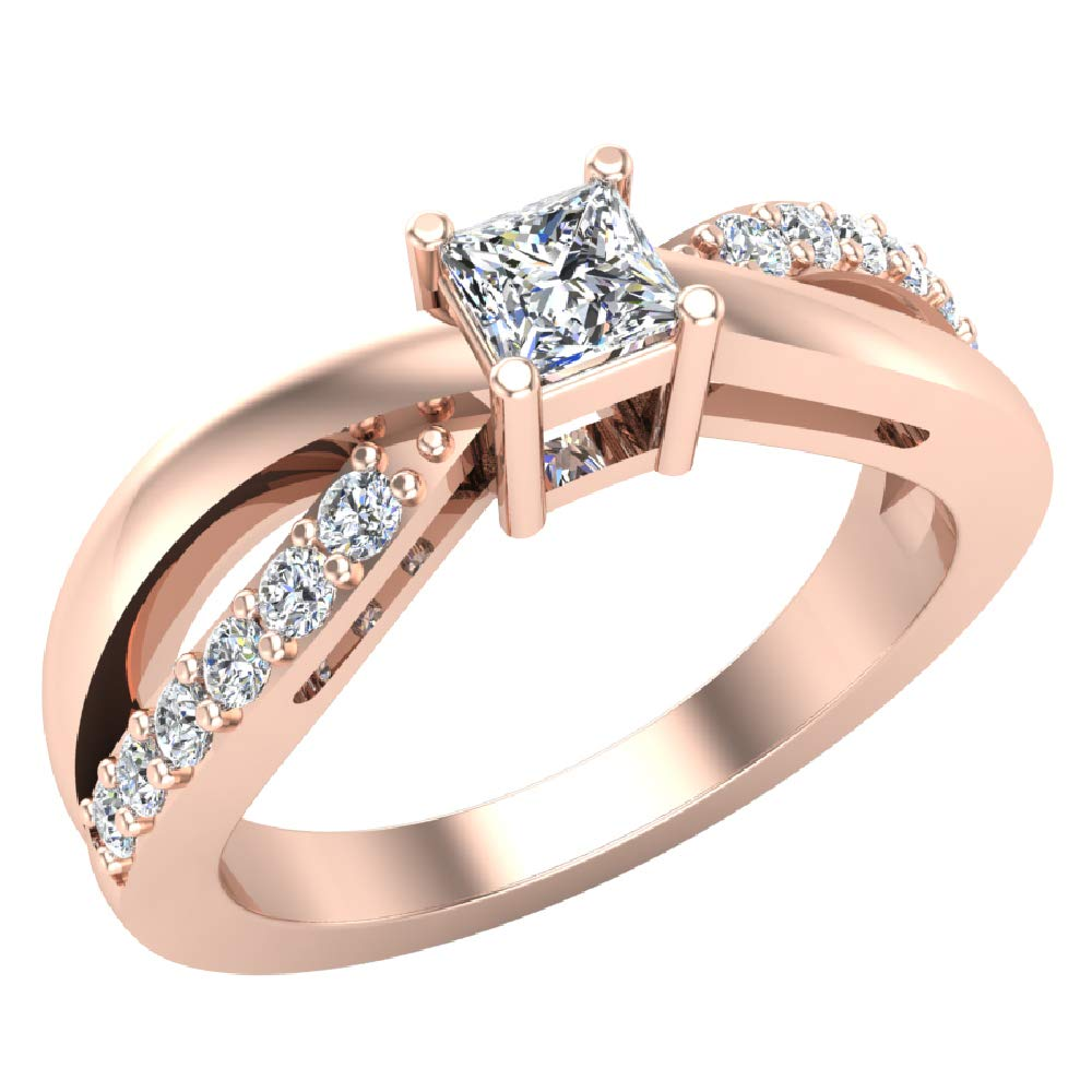 Infinity Shank Promise Diamond Ring 14k Rose Gold 0.50 Carat Total Weight (Ring Size 5)