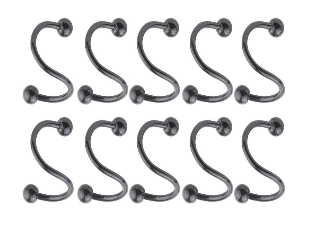 A+'s 10Pcs Stainless Steel S Twist Piercing Gauge, 16G Gauge, Inner Hoop Diam 8mm Fashion Piercing Jewelry