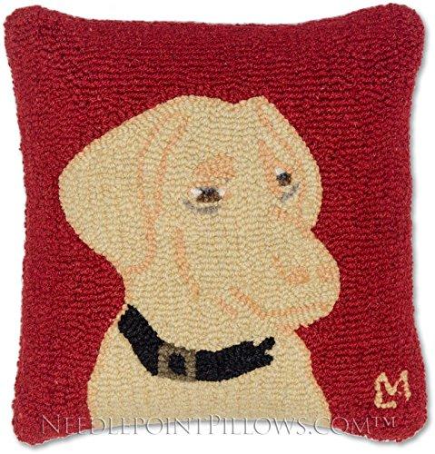 Handmade Golden Lab Yellow Labrador Retriever Dog Hooked Red Throw Pillow