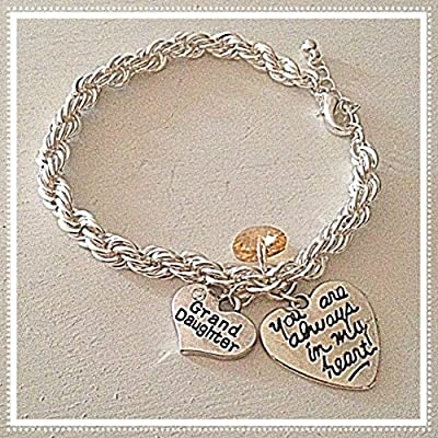 Grand Daughter Silver French Rope Bracelet You Are Always in My Heart Custom Swarovski Crystal Charm Gold, Pink, etc.