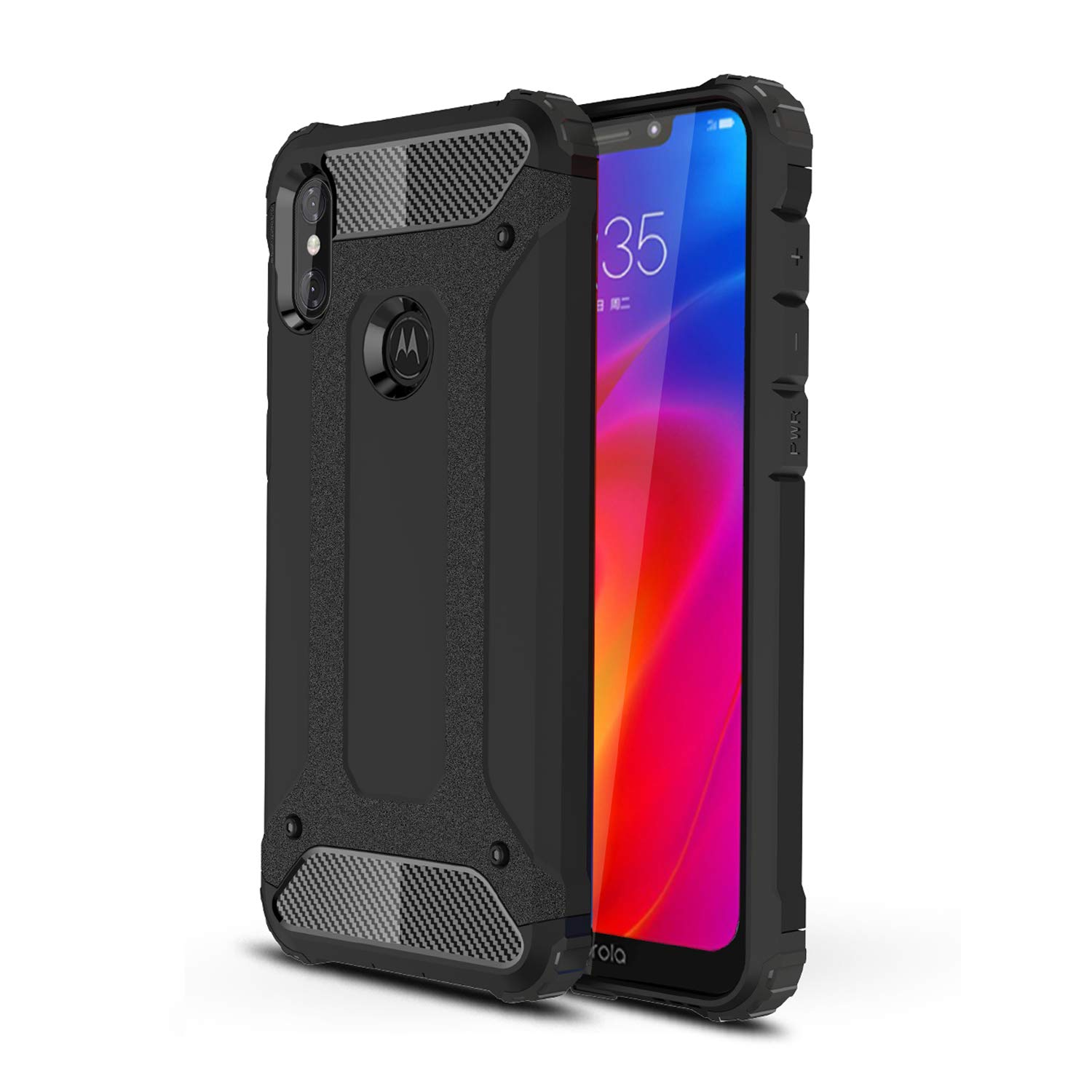 Domxteck Heavy-duty hardback shock-resistant and durable protective case for Moto One Power//Moto P30 Note-black