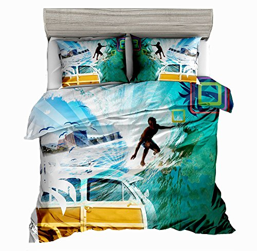 SxinHome Surfing Bedding Set for Teen Boys, Duvet Cover Set,3pcs 1 Duvet Cover 2 Pillowcases(no Comforter inside), Twin Size (Surfing Baby Bedding)