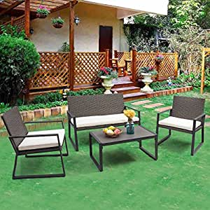 Tangkula 4 PCS Patio Furniture Outdoor Poolside Wicker Cushioned Seat Sofa Set Conversation Set