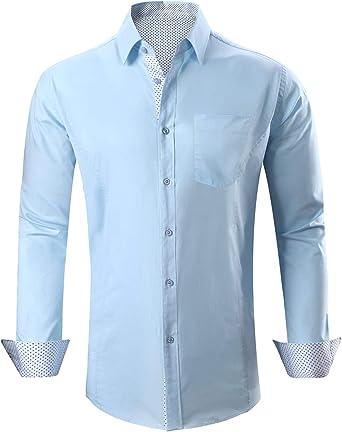 Pinkpum - Camisa para Hombre de Manga Larga para Negocios ...