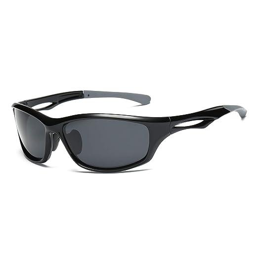 37618be5996 Livhò Sports Polarized Sunglasses Running Baseball Cycling Fishing Glasses  Durable Frame (Black Grey+Black