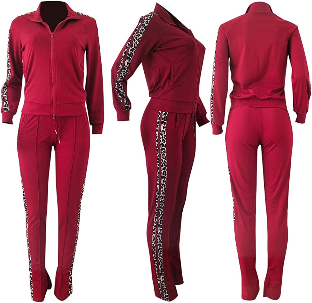 kaimimei Women Leopard Patchwork Zipper Long Sleeve Jacket Coat and Skinny Pant Set Tracksuits 2 Piece Outfit