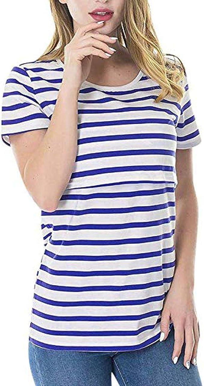 Women Pregnant Maternity Nursing Short Sleeve Top Breastfeeding T-Shirt Blouse N