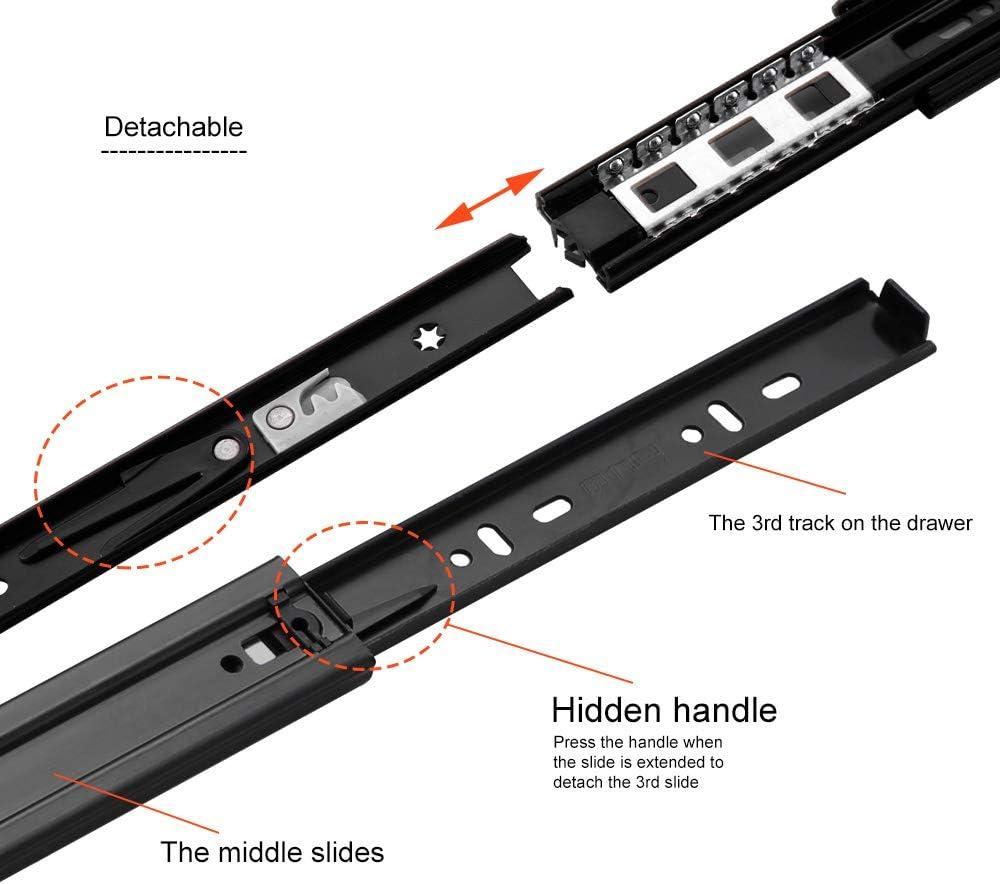 m/étal noir extension compl/ète AOLISHENG Paire de glissi/ères de tiroir /à roulement /à billes 400mm Fermeture en douceur 1 paire noir capacit/é de charge 45 kg 2 pi/èces montage lat/éral