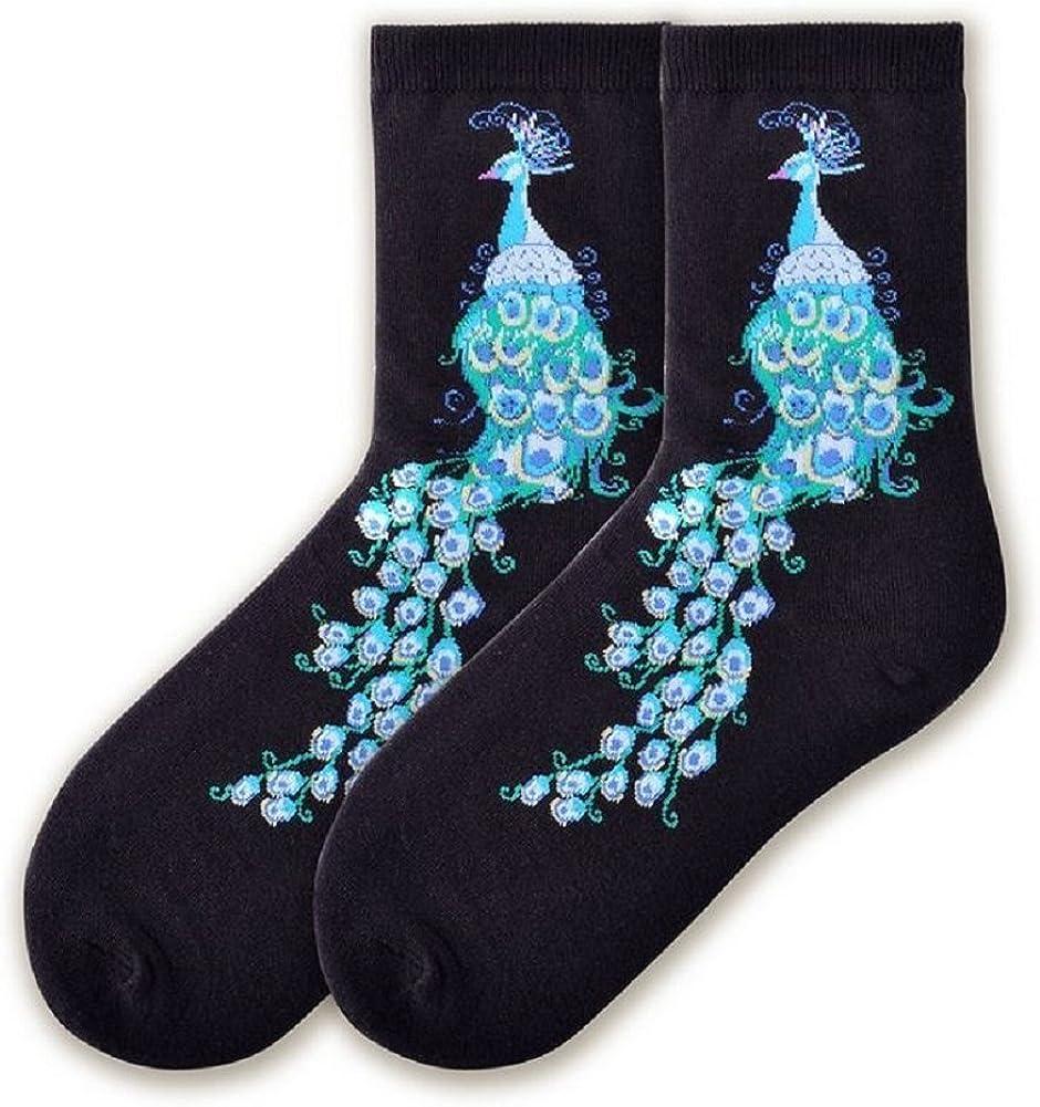 9-11 K Bell Womens Peacock on Black Womens Crew Sock Size