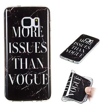 Yunbaozi Funda Mármol Samsung Galaxy S7 Edge Carcasa Suave Silicona Marble Case IMD Piedra Anti-Rasguños Anti-Huella Digital Patrón Geometric Granito, ...