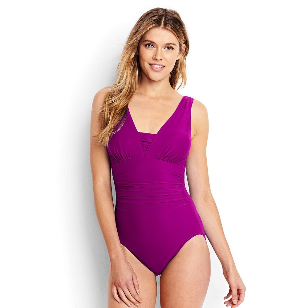 Lands' End Women's Slender Grecian One Piece Swimsuit With Tummy Control, 12, Crimson Rose