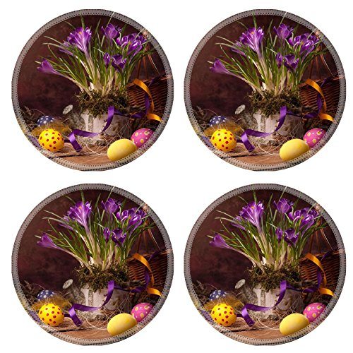 Liili Round Coasters Non-Slip Natural Rubber Desk Pads vintage Easter card spring flowers on a wooden background Photo 12782445