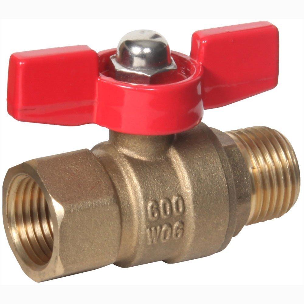 "PneumaticPlus Mini Brass Ball Valves, Male X Female, 600 CWP 150 WSP (1/8"" NPT)"