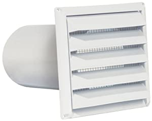 "Imperial 6"" Premium Intake Hood with Built-In Pest Guard Screen, White, PAT-6W"