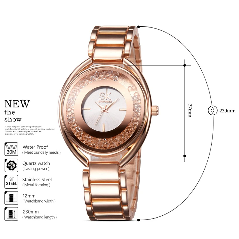 Amazon.com: Designer Womens Watches Rose Gold Quartz Stainless Steel Dress Watch for Women: Watches