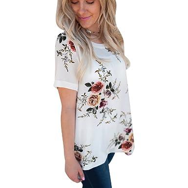 5d5946e204b9 Tee Shirt Imprimé Floral Manche Courte Col Rond Femme Long T Shirt  Mousseline Manches Courtes Ample
