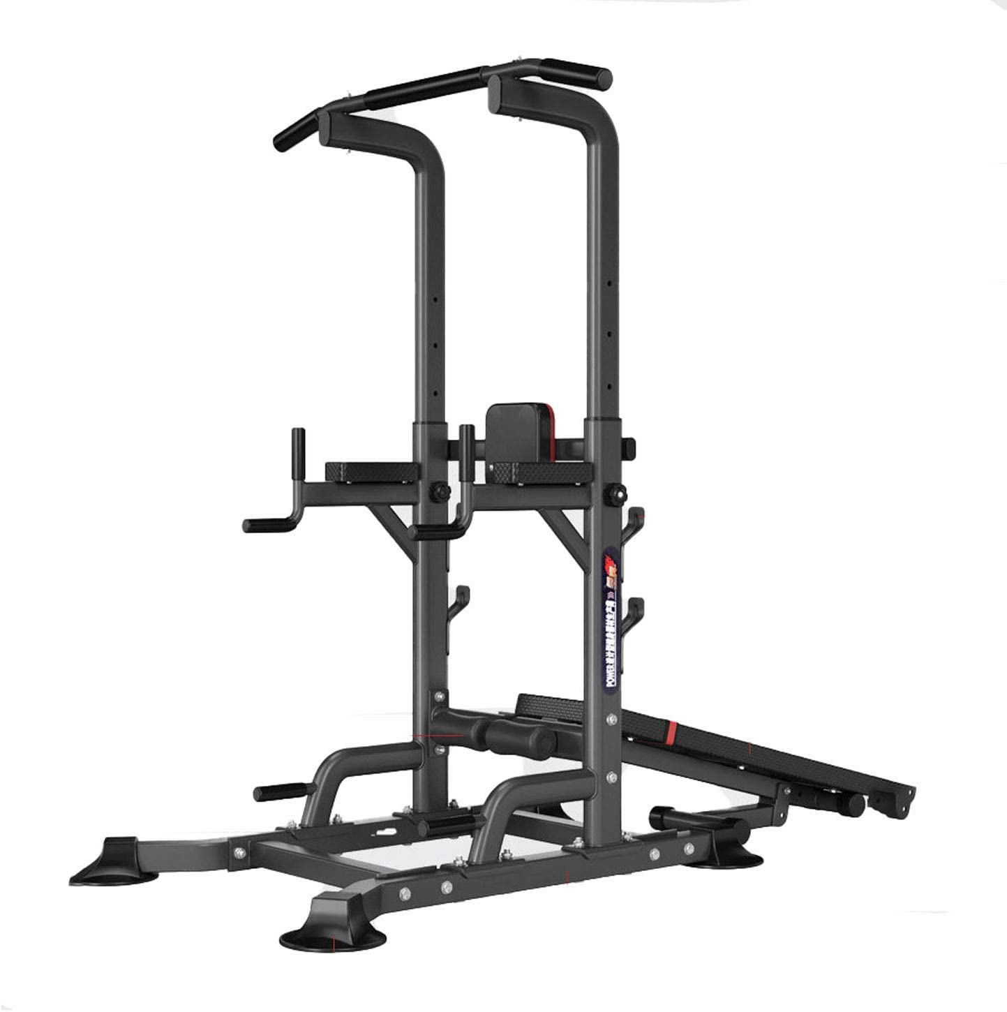 aiyu Power Tower with Bench Exercise Equipment, Multifunctional Workout Dip Station, Adjustable Height Pull Up Bar Station for Indoor Home Gym Fitness Dip Stand, Weight Lifting Bench Press, 1100LBS