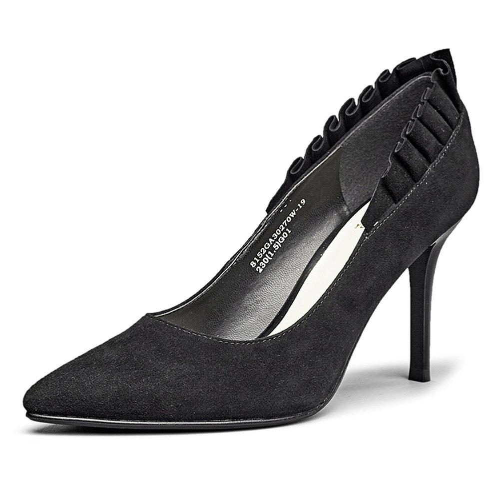 WYYY Damenschuhe High Heels Lotus Seite Gut mit Flacher Mund Mund Mund Spitze Freizeitschuhe 8 cm (Farbe   schwarz Größe   EU36 UK4) facf8c