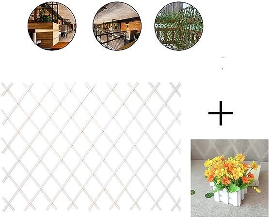 YOGANHJAT Celosía Madera Jardin Balcon Enrejado Jardín Madera Natural Resistente para Plantas De pie Artificial Extensible Decoración de balcón Blanco,D,150 * 52cm/59 * 20.4in: Amazon.es: Hogar