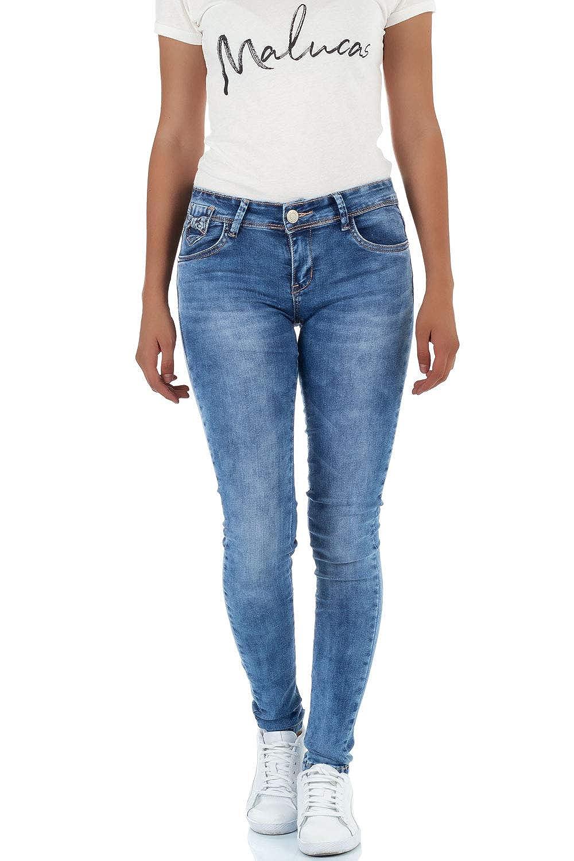 Malucas Damen Jeans Skinny Hose Röhrenjeans Röhrenhose Normaler Bund Röhre Denim