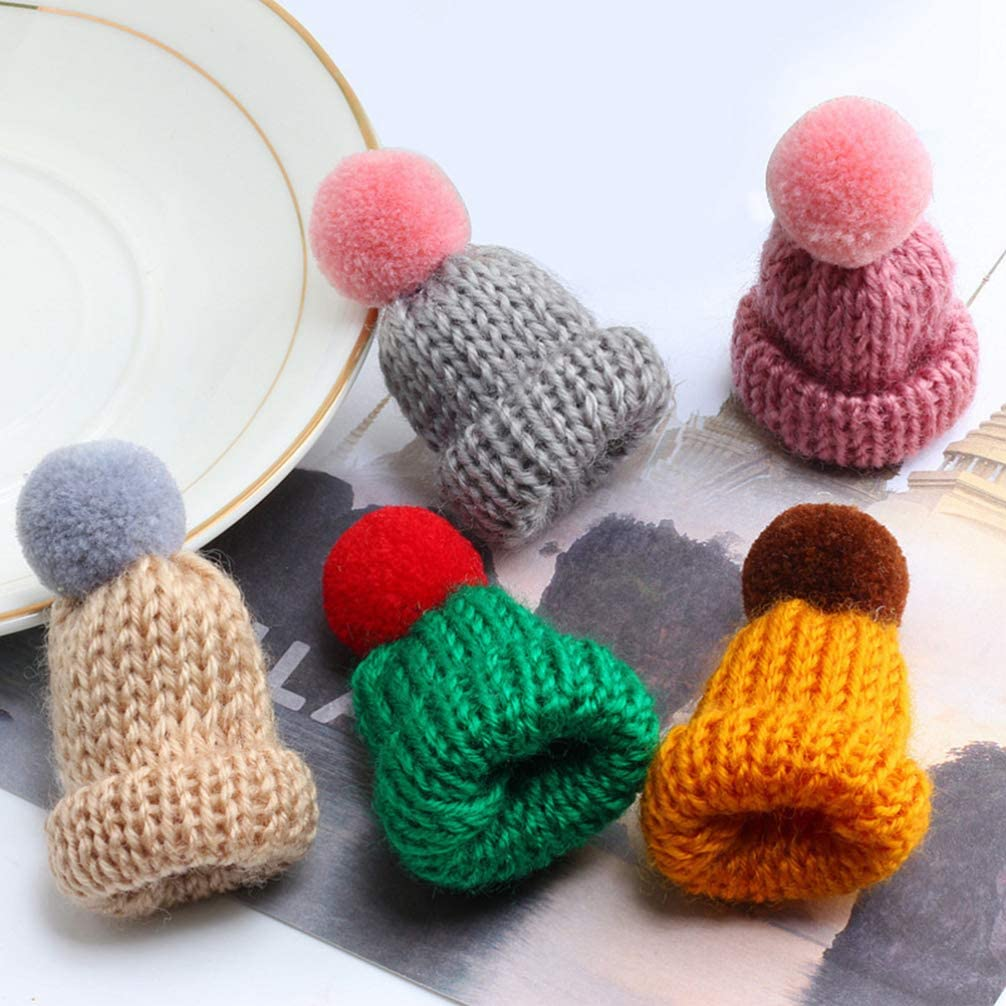 Healifty 10pcs Christmas Mini Santa Hats Christmas Wine Topper Covers Christmas Dinner Table Decorations Mixed Color