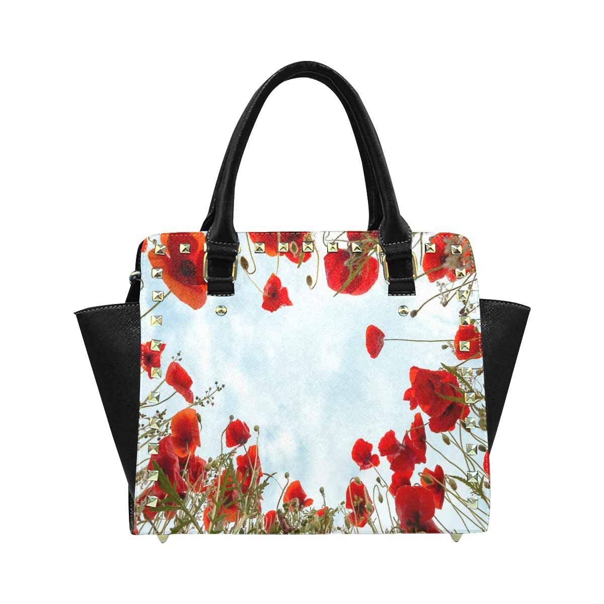 InterestPrint Womens Brown Paw Print with Hearts Rivet Shoulder Handbag Shoulder Bags