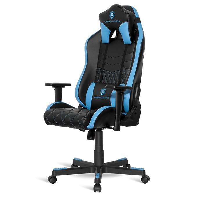 Empire Gaming - Sillón Gamer Mamba Azul - Asiento de cuero ...