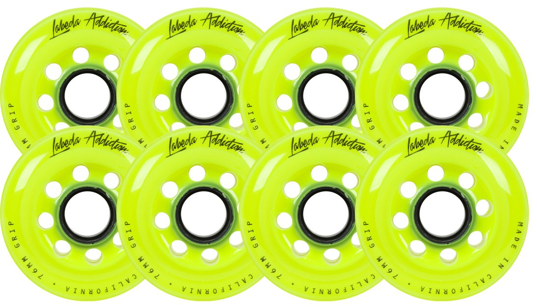 Labeda Inline Roller Hockey Skate Wheels Addiction Yellow 76mm SET OF 8 by Labeda