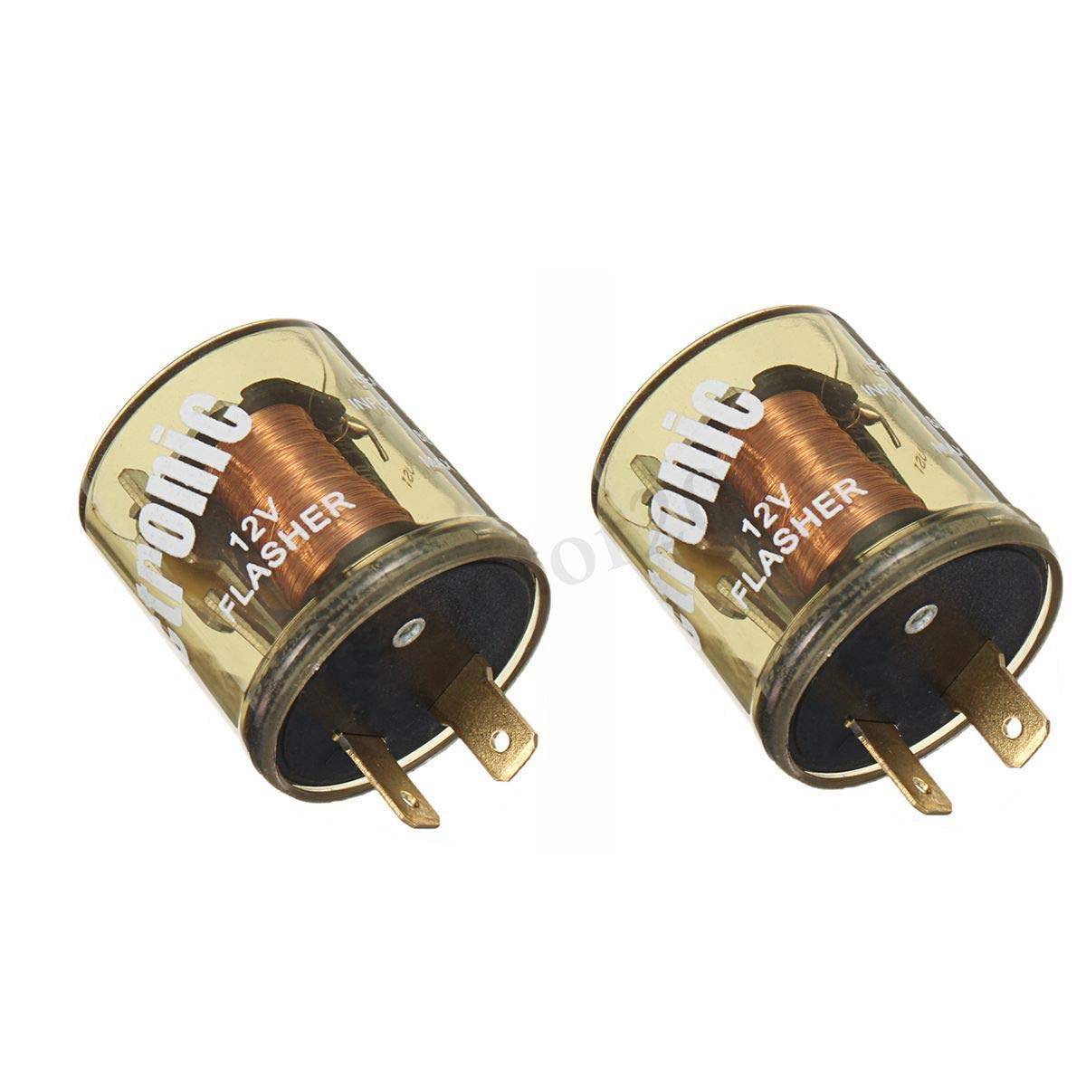 2x 2-Prong Electronic LED Compatible Turn Signal Flasher Relay EF32RL Round 25A
