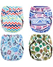 Thank u Mom Pocket Newborn Cloth Diapers for Less Than 12pounds Baby 4 Pack (Minky Prints2)