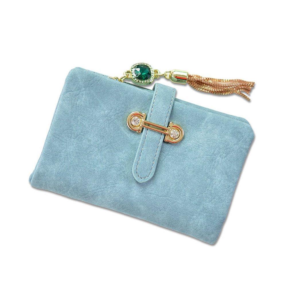 Small Women Wallet, Wallet For Women, Women's Short Matte Leather Card Holder Clutch Wallet (Blue, Small)