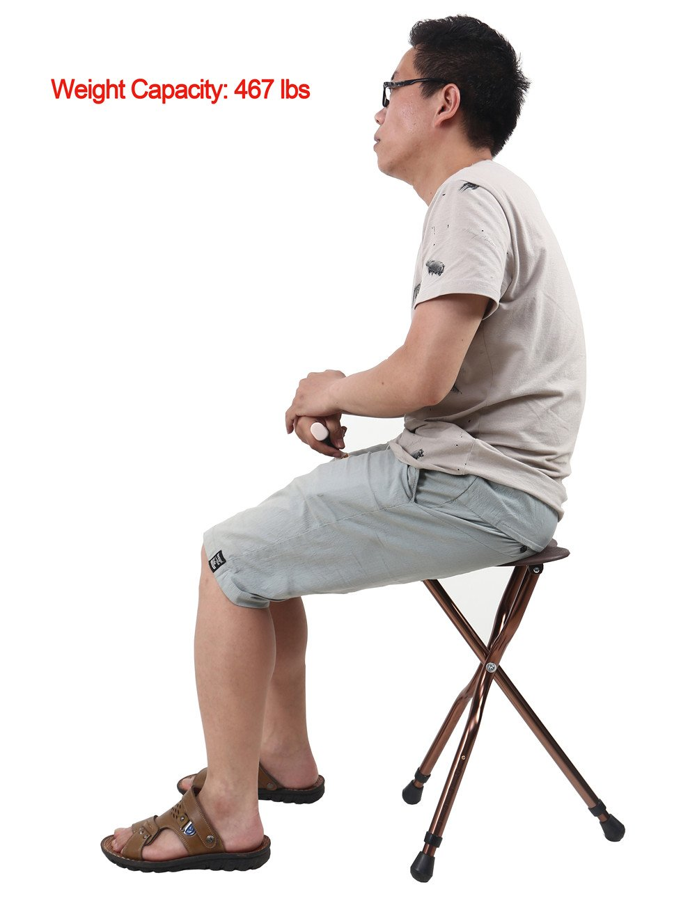 Best Health Cane Seat Stool Retractable Lightweight Walking Stick with LED Light for Elderly Outdoor Travel Rest Stool Folding Chair Replacement Large Golf Seat Large Weight Capacity (brown cane seat) by BSROZKI (Image #2)
