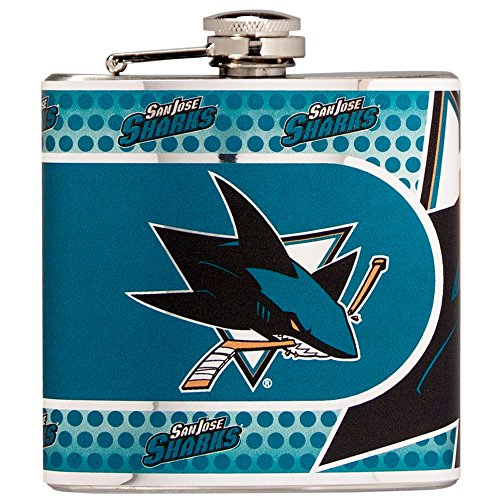 Great American Products NHL San Jose Sharks Stainless Steel Hip Flask with Metallic Graphics, 6 oz, Silver ()