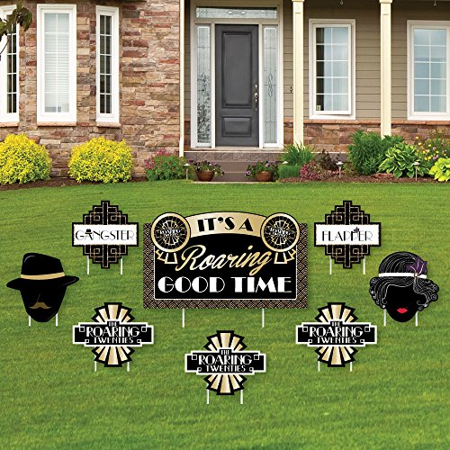 Roaring 20's - Yard Sign & Outdoor Lawn Decorations - 1920s Art Deco Jazz Party Yard Signs - Set of 8]()