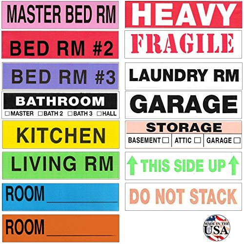 Box Packing Tape (Tag-A-Room Moving Labels Color Coded (800 Count), 3-4 Bedroom Home Pack, Moving Supplies)