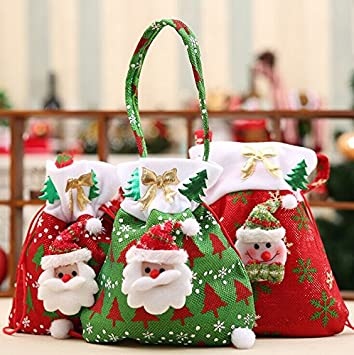 christmas candy bags with drawstring gift bags treat bags christmas ornaments handbags home party decorations - Christmas Candy Bags