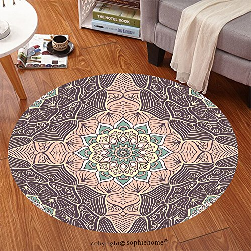 Sophiehome Soft Carpet 398912869 Seamless pattern Vintage decorative elements Hand drawn background Islam, Arabic, Indian, ottoman motifs Perfect for printing Anti-skid Carpet Round 72 inches - Shaw Rugs Indian Rug