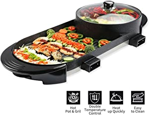 2 In 1 Electric Barbecue Grill Teppanyaki Cook Fry Pan BBQ Oven Hot Pot Kitchen Indoor and Ourdoor Shabu Hot Pot with Large Capacity Non-Stick Pan with 5 Temperature adjustments for Family Gatherings