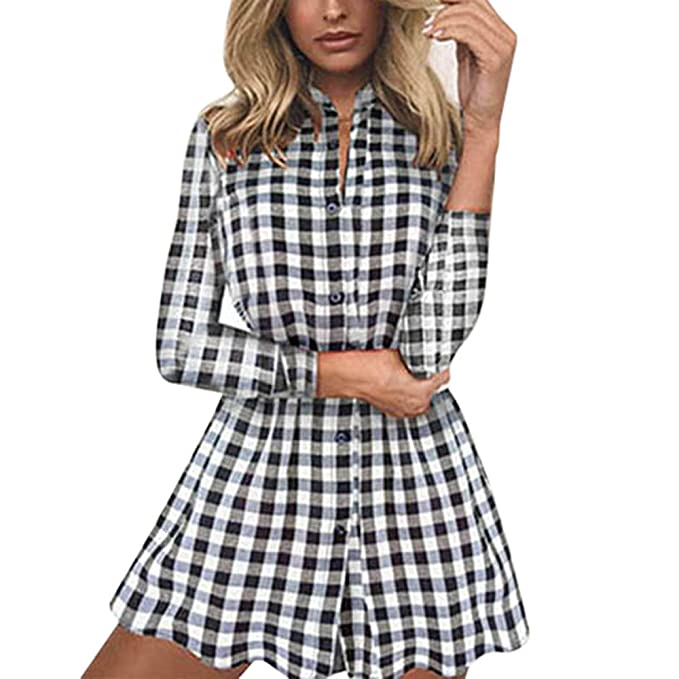 KOLY da Donna Controllo Plaid Casuale Mini Vestito Abito a Quadri a Maniche  Lunghe con Motivo e10854a90d81
