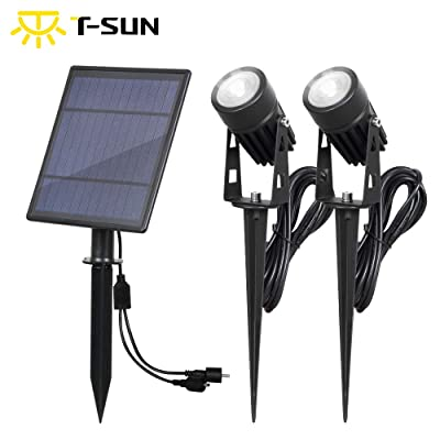 T-SUN Solar Spotlights 2W Outdoor LED Landscape Spot Light, 2-in-1 Waterproof Solar Powered Wall Lights Auto ON/Off with Dual Headlamp for Garden, Yard, Pathway(White) : Garden & Outdoor