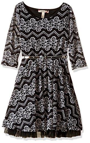 (Speechless Big Girls' Lace Below Elbow Sleeve Scoop Neck Dress, Black/White, 8)