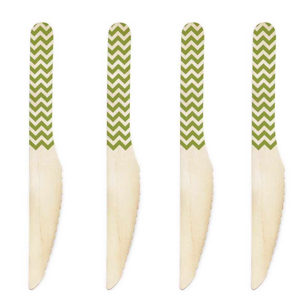 Dress My Cupcake 6.5-Inch Natural Wood Dessert Table Knives, Kiwi Green Chevron, 100-Pack Dress My Cupcake Home DMC10584