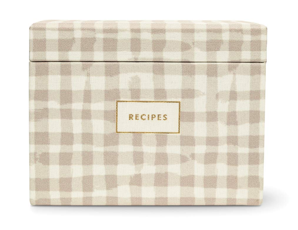 Kate Spade New York Recipe Box with 40 Double Sided Recipe Cards, Gingham by Kate Spade New York